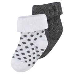 Noppies Baby- Söckchen Dot - 2er-Pack - dark grey melange...