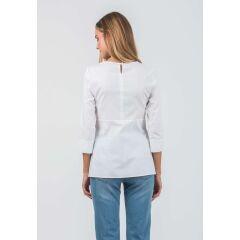 Attesa - hübsche Bluse mit Binde-Schleife - white