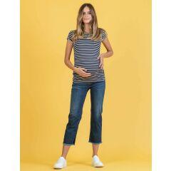 Attesa - gestreiftes T-Shirt mit Binde-Schleife hinten - Maglia - blue stripes