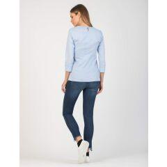 Attesa - hübsche Bluse mit Binde-Schleife - blue