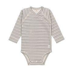 Lässig - Wickelbody Langarm GOTS - Striped Grey