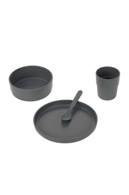 Lässig - Kindergeschirr Set (Teller - Schüssel - Becher - Löffel) - Uni anthracite