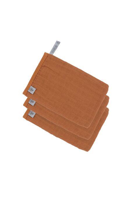 Lässig - Waschhandschuhe aus Mull (3 Stk) - Muslin Glove - rust