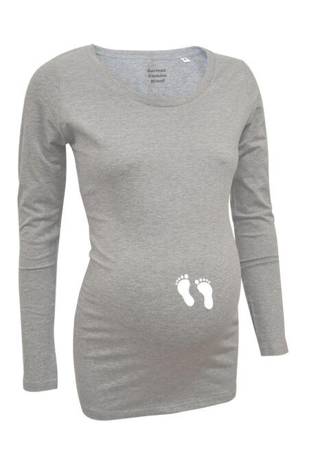 Love Rules - Langarm-Shirt LS - Babyfüße flex - grau meliert