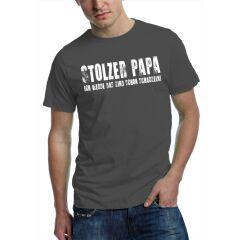 T-Shirt stolzer Papa - stahlgrau